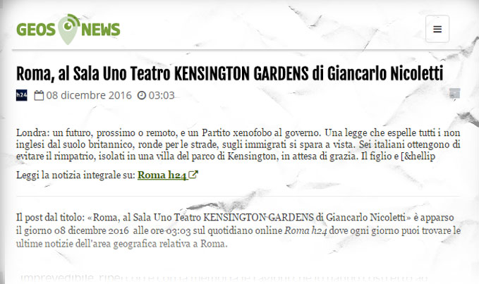 Kensington Gardens. Geos News